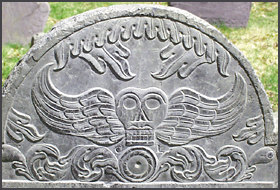 Winged Death's Head on Headstone (Gravestone).